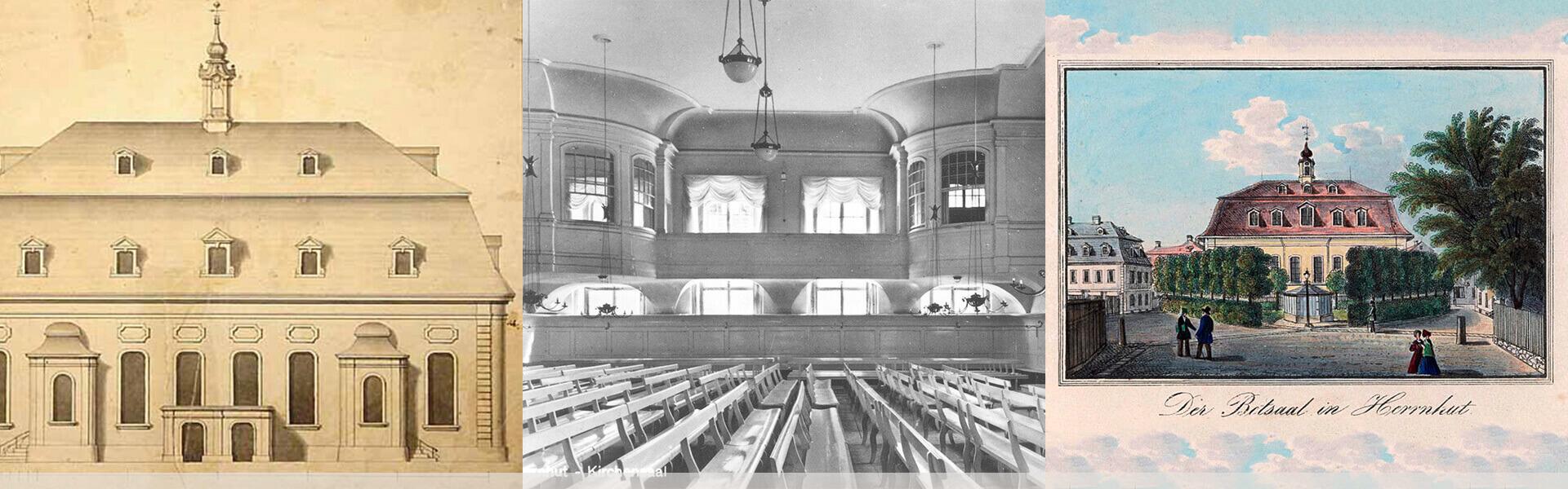 Historische Bilder des Herrnhuter Kirchensaals.